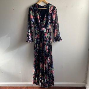 ASOS Black floral long sleeve pleated maxi dress